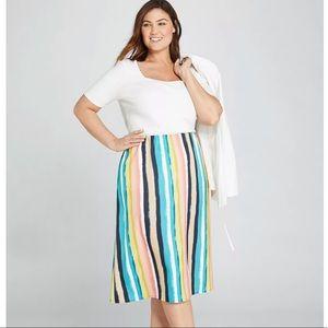 NWOT Lane Bryant Striped Satin Midi Skirt 18/20